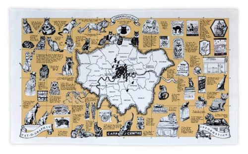 London Cat Map Tea towel